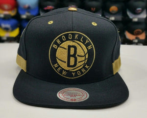 Matching Mitchell & Ness Brooklyn Nets Gold snapback Hat For Jordan 4 Royalty