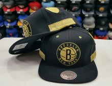 Load image into Gallery viewer, Matching Mitchell & Ness Brooklyn Nets Gold snapback Hat For Jordan 4 Royalty