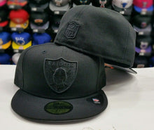 Load image into Gallery viewer, New Era NFL Black on Black Oakland Raiders 59Fifty Fitted Hat Cap