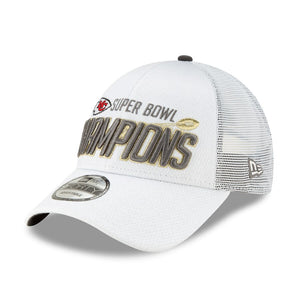 Kansas City Chiefs New Era White Super Bowl LIV Champions Locker Room 9FORTY Adjustable Hat