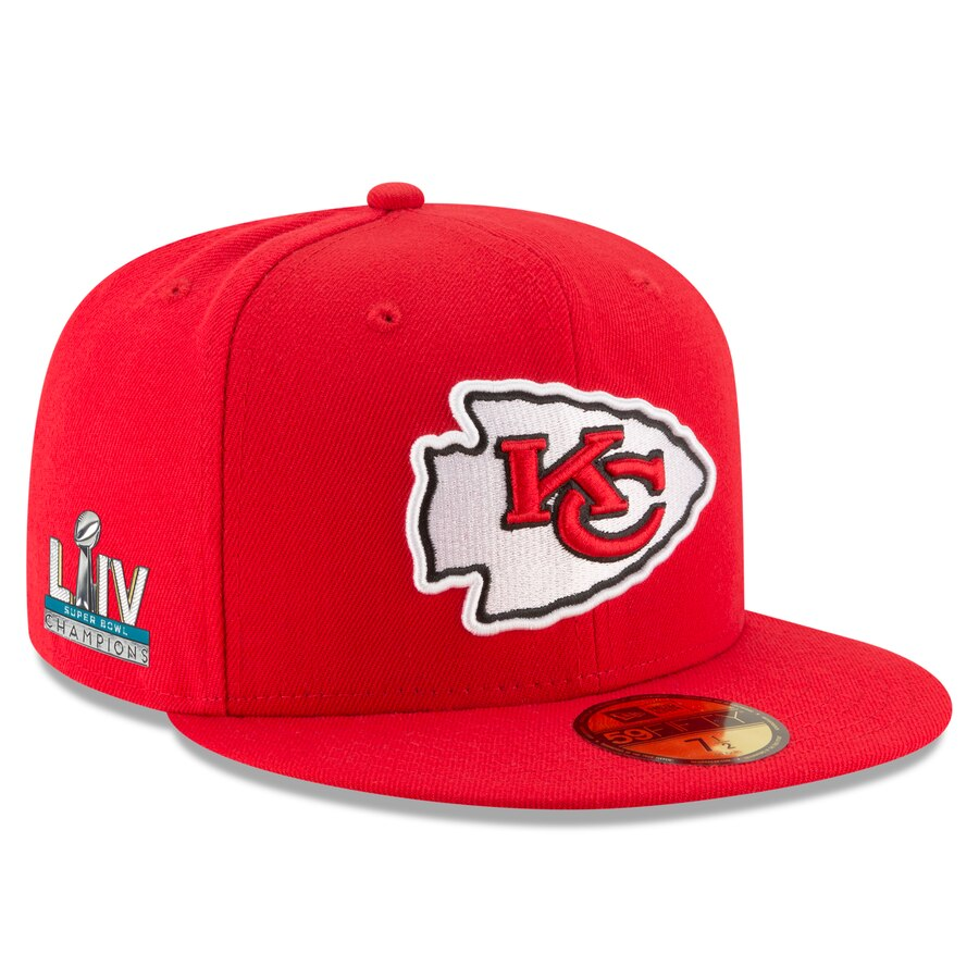 Kansas City Chiefs New Era Red Super Bowl LIV Champions Side Patch 59FIFTY Fitted Hat