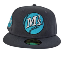 Load image into Gallery viewer, Dark Grey Seattle Mariners Vice Blue Bottom Baseball Club Side Patch New Era 59Fifty Fitted