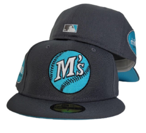 Dark Grey Seattle Mariners Vice Blue Bottom Baseball Club Side Patch New Era 59Fifty Fitted