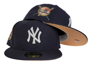 Navy Blue New York Yankees Peach Bottom Baseball Bat Side Patch New Era 59Fifty Fitted