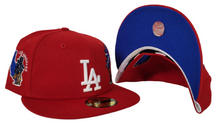 Load image into Gallery viewer, Red Los Angeles Dodgers Royal Blue Bottom State Map Palm Tree New Era 59Fifty Fitted