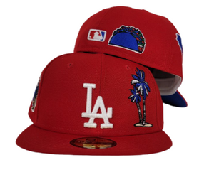 Red Los Angeles Dodgers Royal Blue Bottom State Map Palm Tree New Era 59Fifty Fitted