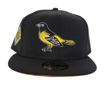 Load image into Gallery viewer, Black Baltimore Orioles Yellow Bottom 50th Anniversary Side Patch New Era 59Fifty Fitted