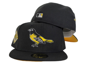 Black Baltimore Orioles Yellow Bottom 50th Anniversary Side Patch New Era 59Fifty Fitted