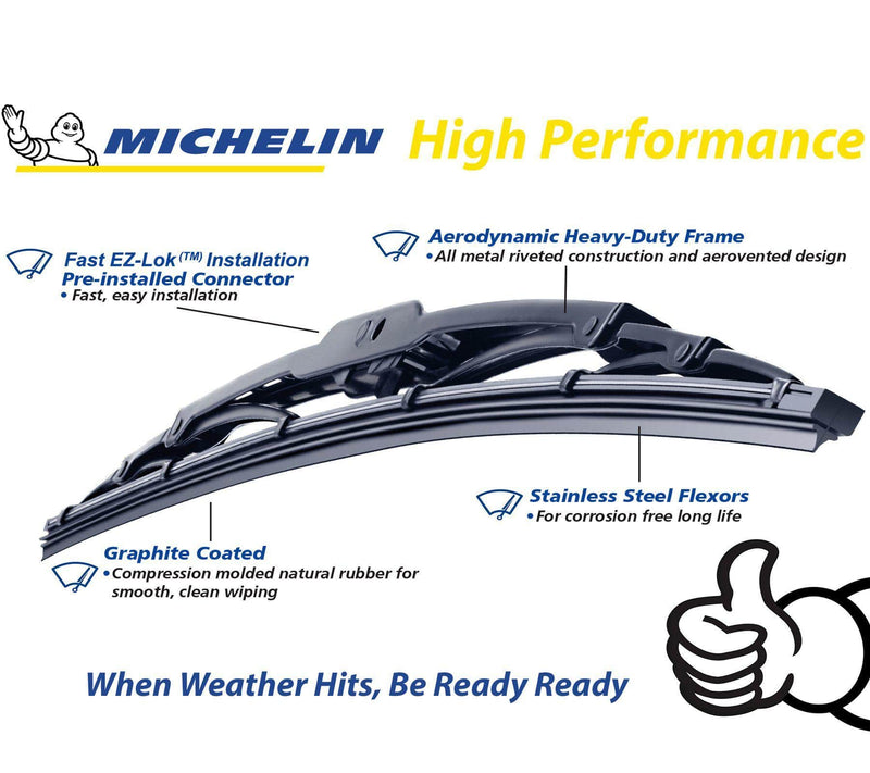 "Michelin Rainforce Traditional Front Wiper Blades Pair Of 430Mm/17″ + 450Mm/18""-D2P Autoparts"