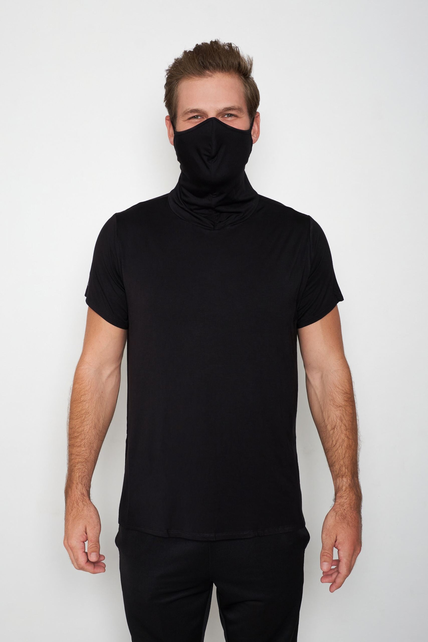 Adult Short Sleeve Black Shmask™ Earloop Face Mask for Kids and Adults