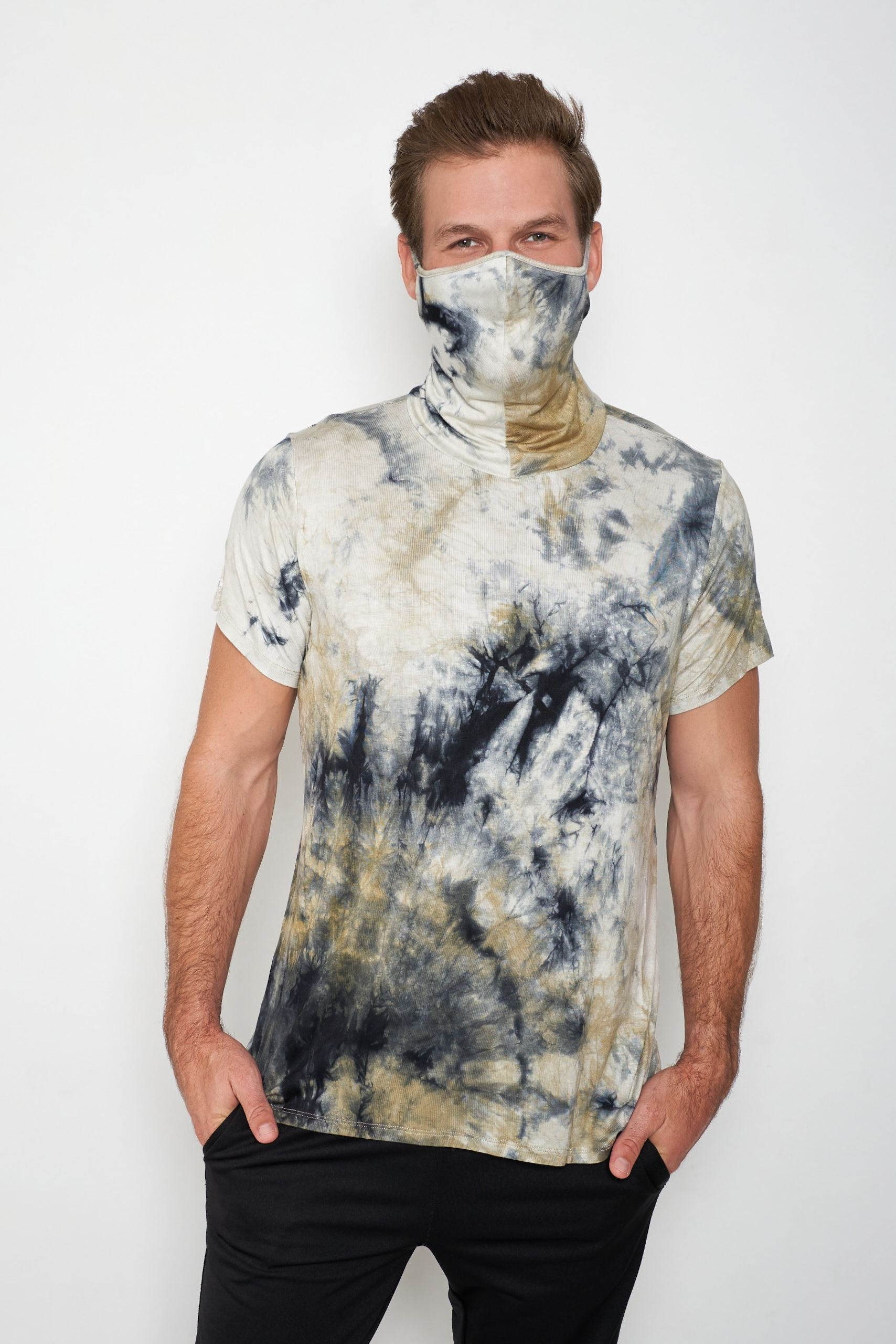 Adult Short Sleeve Green White Gray Blue Tie-dye #26 Shmask™ Earloop Face Mask for Kids and Adults