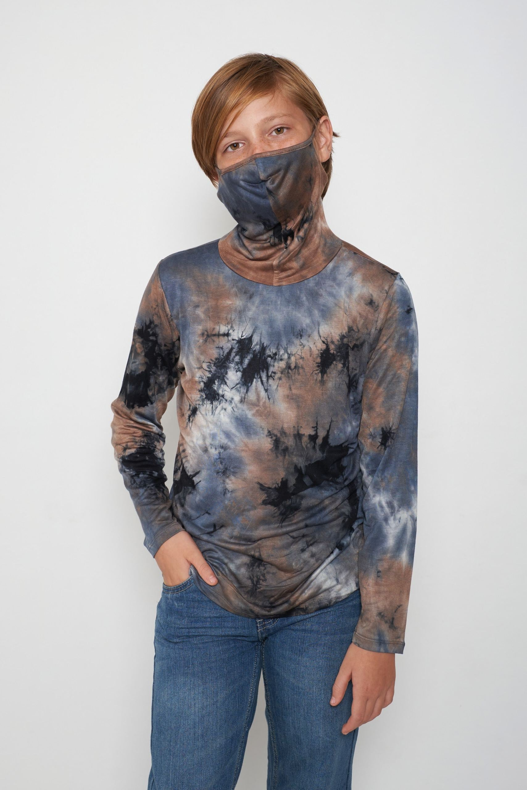 Kids Long Sleeve Blue Gray Black Brown Tie-dye #36 Shmask™ Earloop Face Mask for Kids and Adults