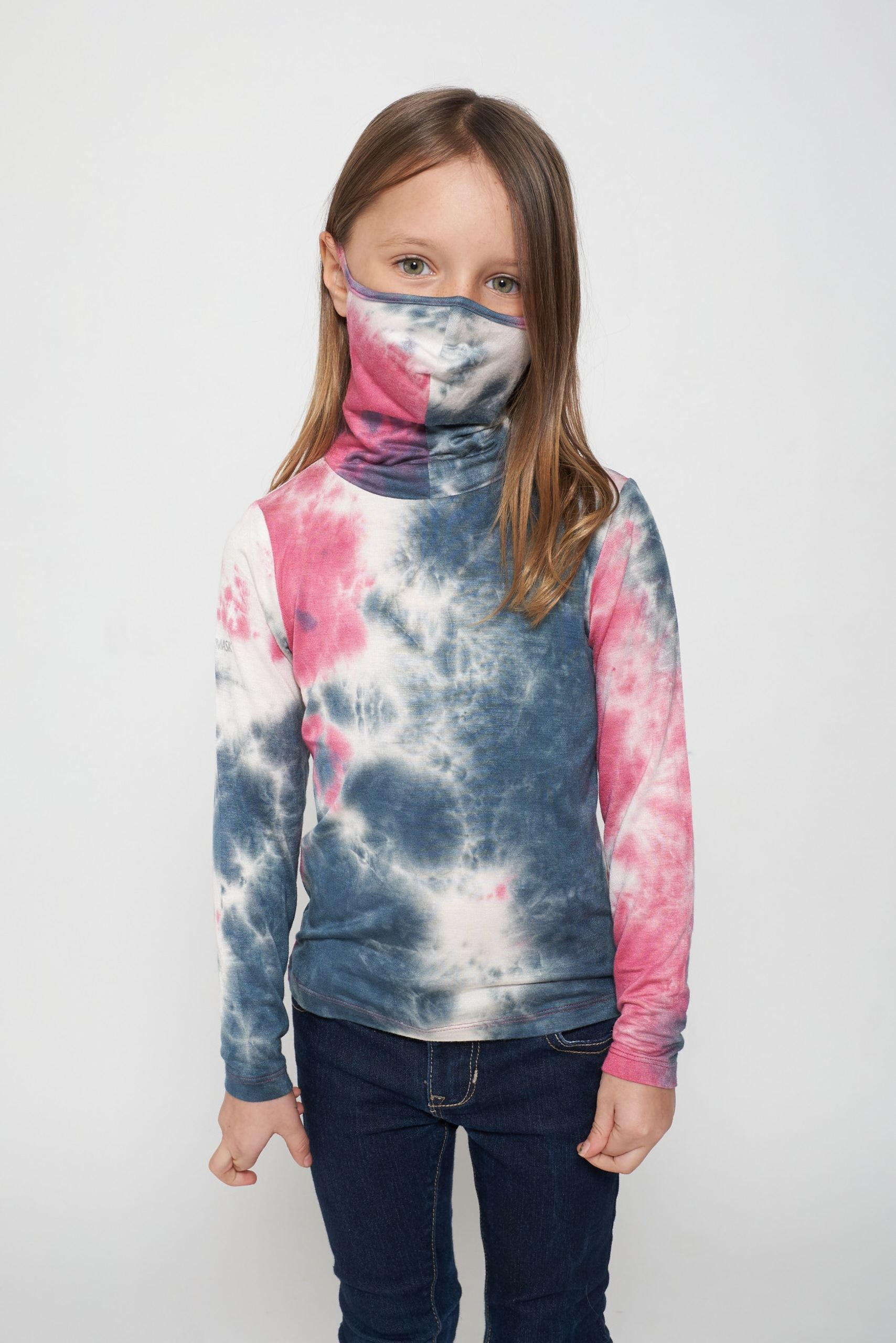 Kids Long Sleeve Pink White Tie-dye #9 Shmask™ Earloop Face Mask for Kids and Adults