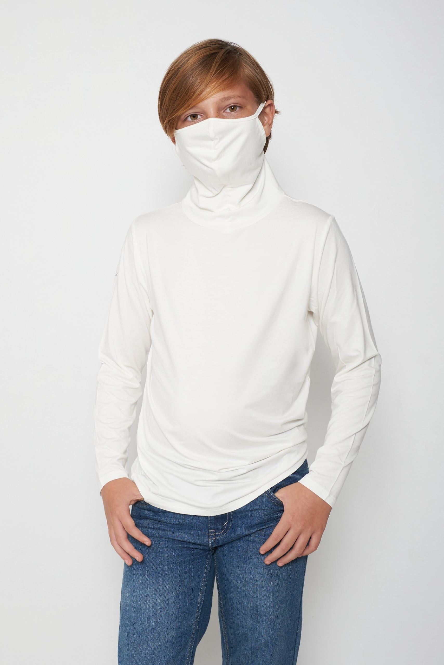 Kids Long Sleeve White Shmask™ Earloop Face Mask for Kids and Adults