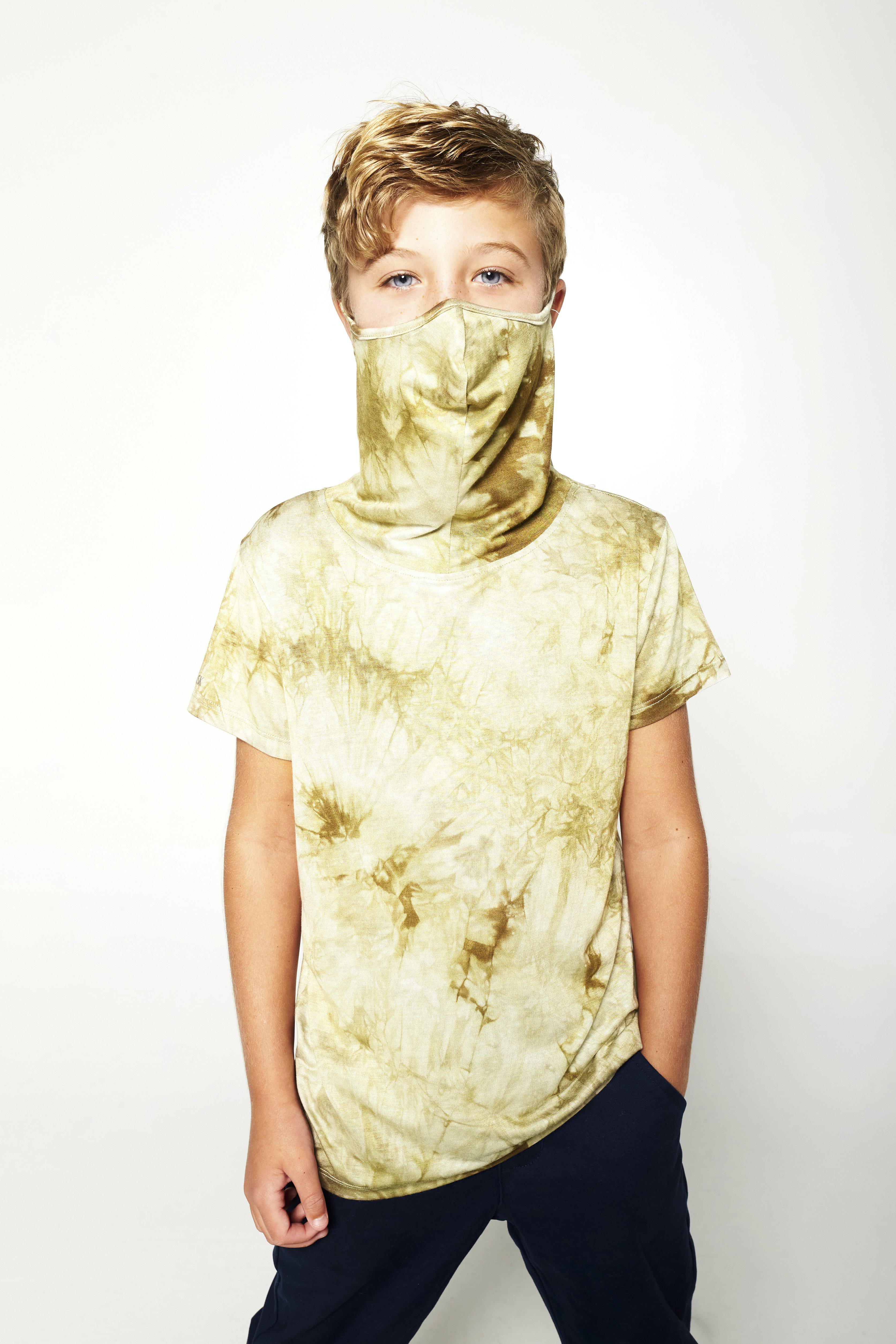 Kids Short Sleeve Army Green Tie-dye Shmask™ Earloop Face Mask for Kids and Adults