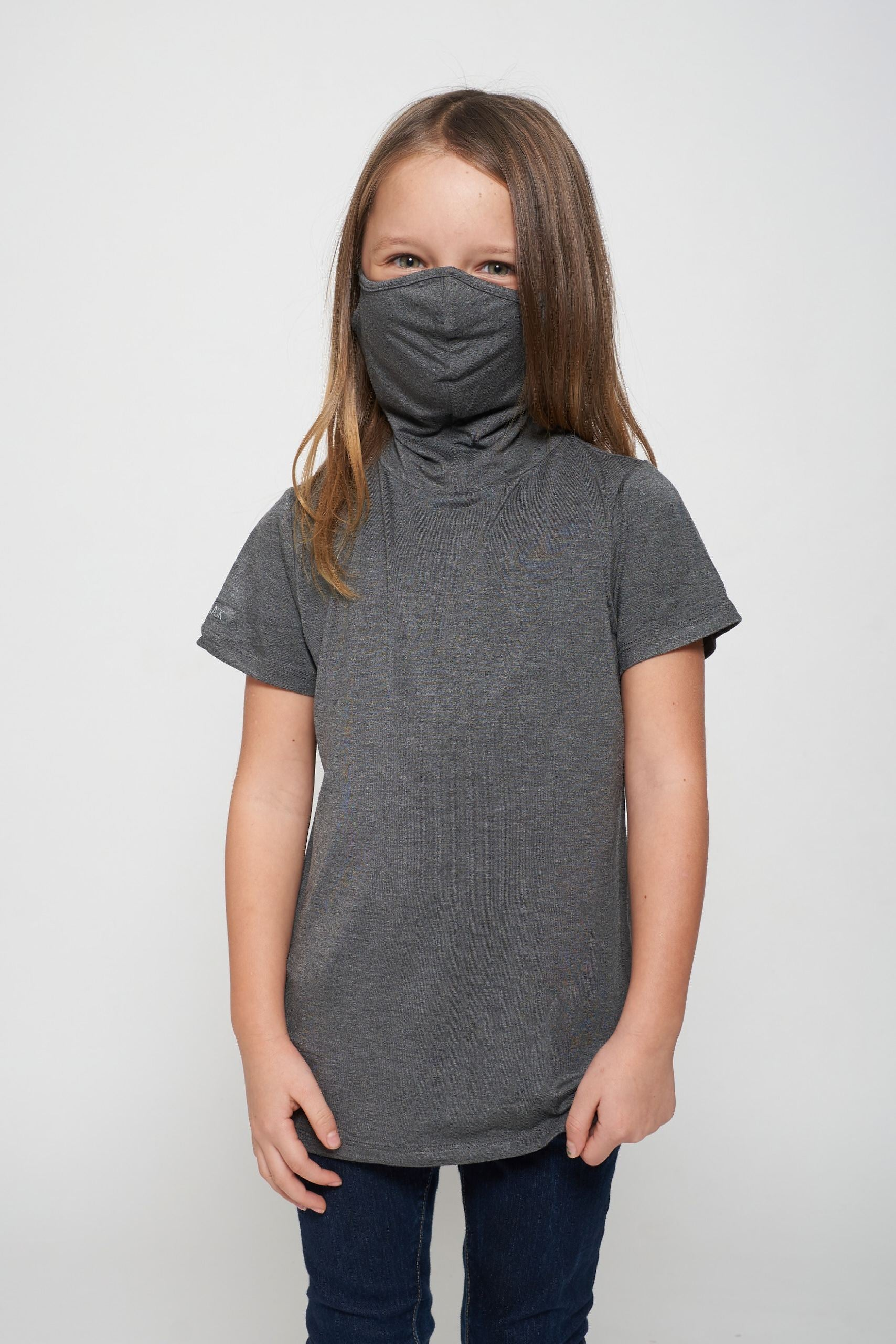 Kids Short Sleeve Dark Heather Gray Modal Shmask™ Earloop Face Mask for Kids and Adults