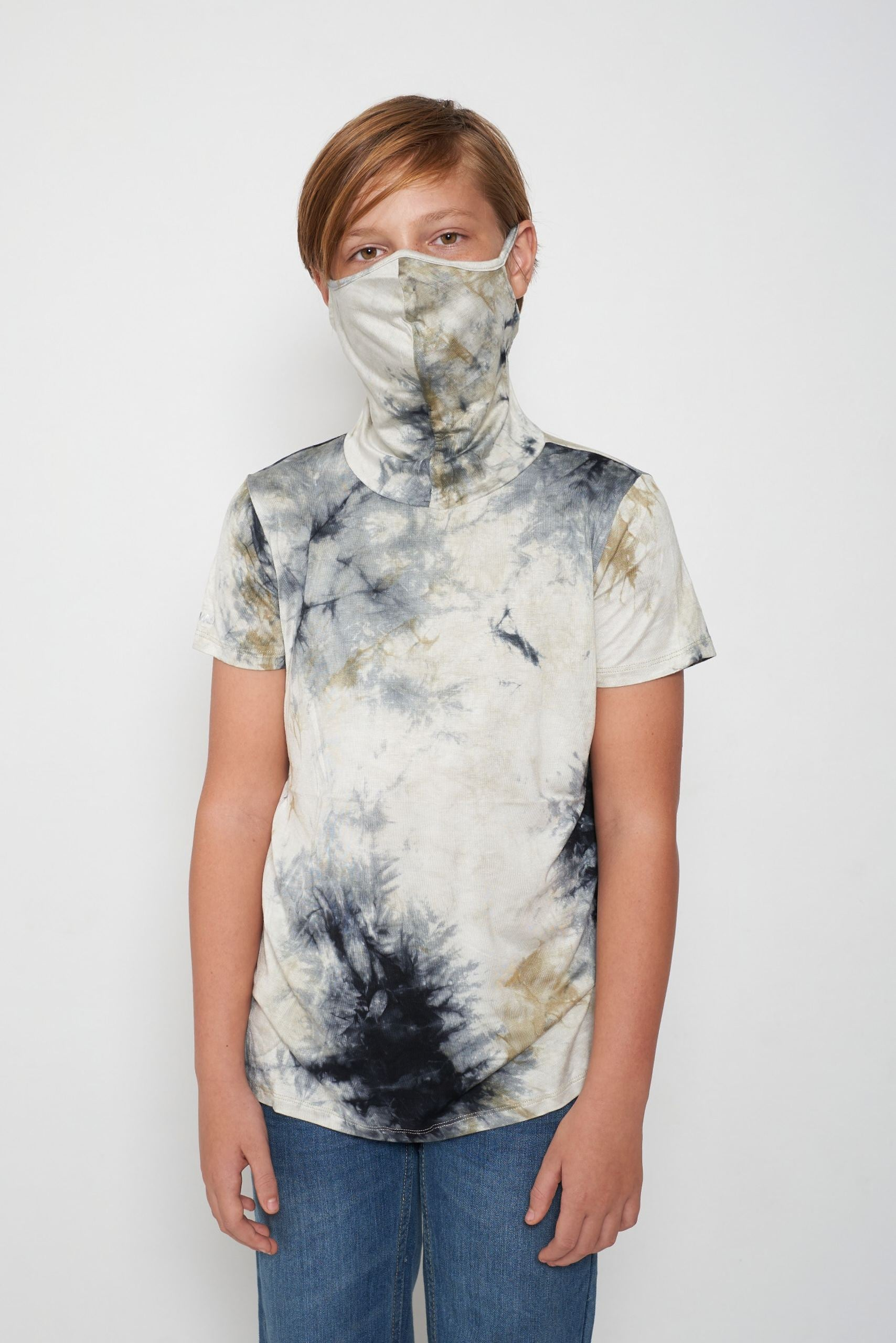 Kids Short Sleeve Green White Gray Blue Tie-dye #26 Shmask™ Earloop Face Mask for Kids and Adults