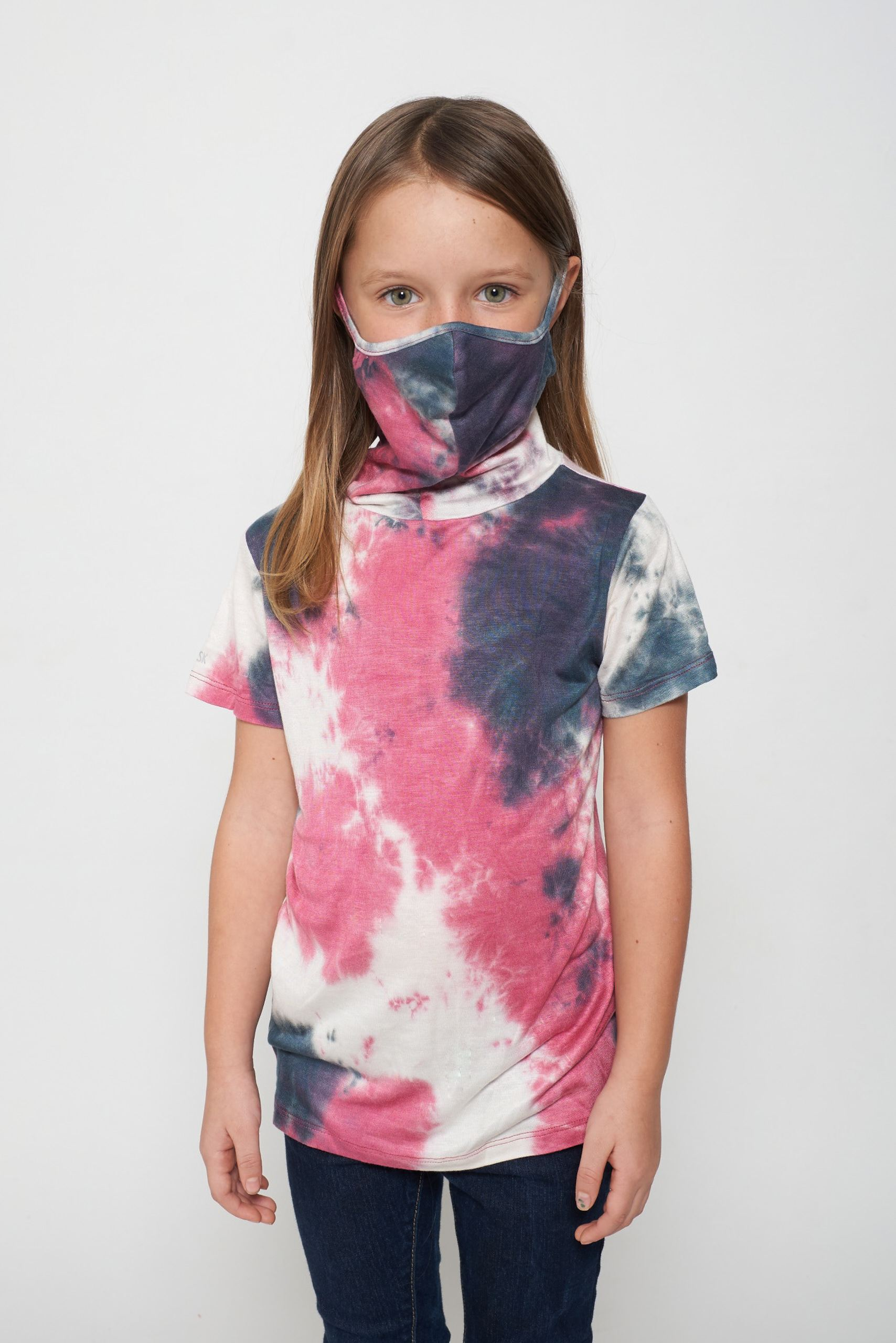 Kids Short Sleeve Pink White Blue Tie-dye #9 Shmask™ Earloop Face Mask for Kids and Adults