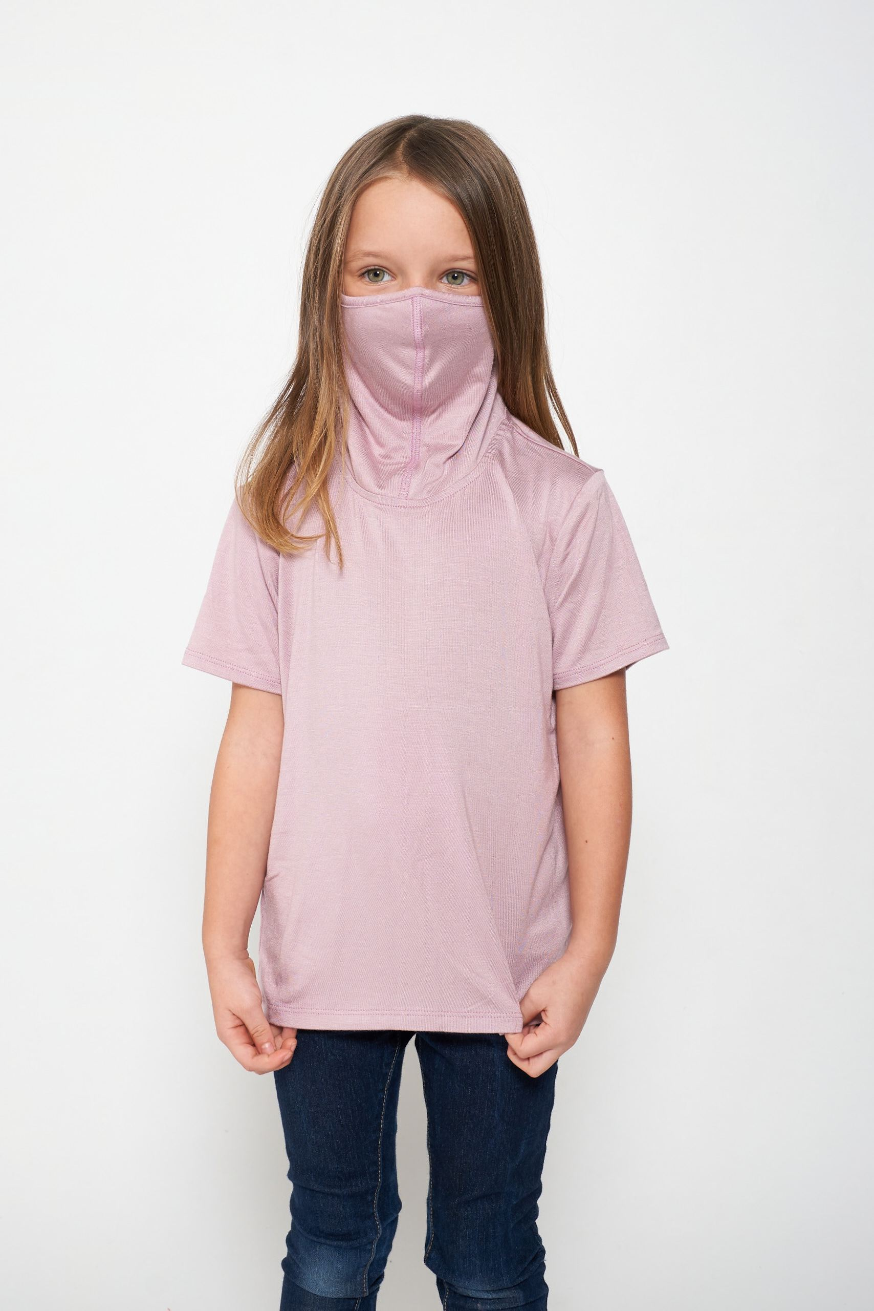 Kids Short Sleeve USA Light Pink Shmask™ Earloop Face Mask for Kids and Adults