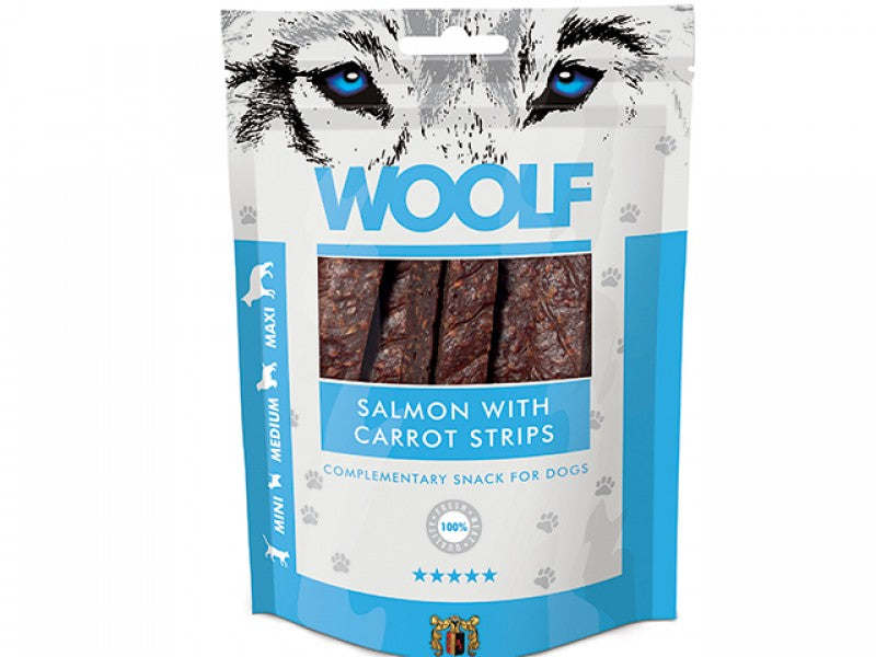 Woolf Salmon & Carrot Strips Hundesnacks 100 g-HUBERTS.dk