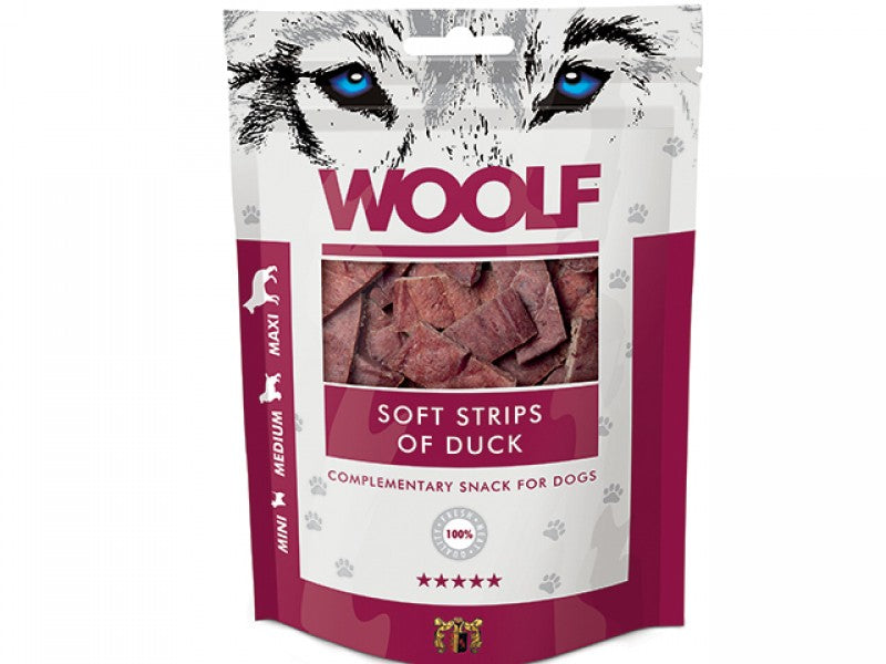 Woolf Soft Strips Duck Hundesnacks 100 g-HUBERTS.dk