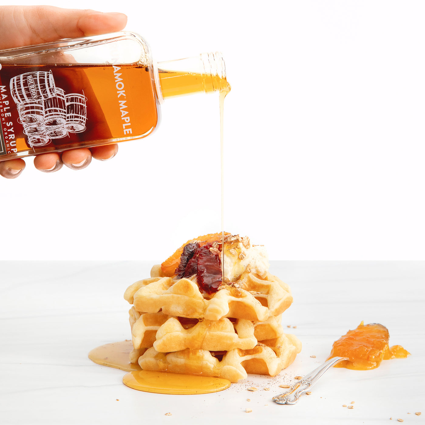 Orange Bourbon Waffles with Bourbon Maple