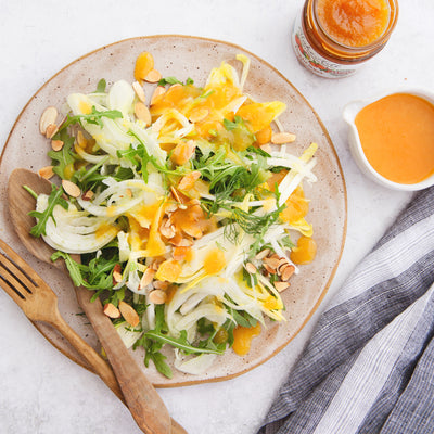 Fennel Arugula Salad with Peach Ginger Preserve