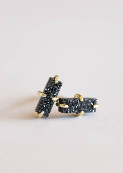 Black Druzy Bar Stud Earrings