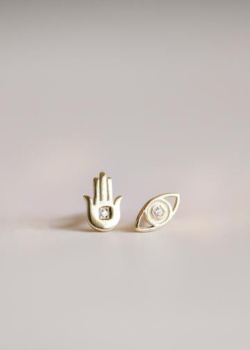 Hamsa and Eye Stud Earrings