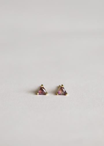 Amethyst Gem Triangle Stud Earrings
