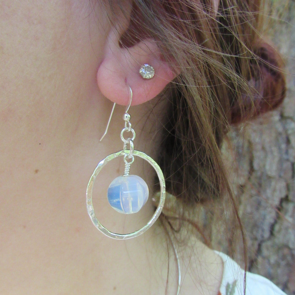 Milk Glass Bead and Sterling Hoop Earrings