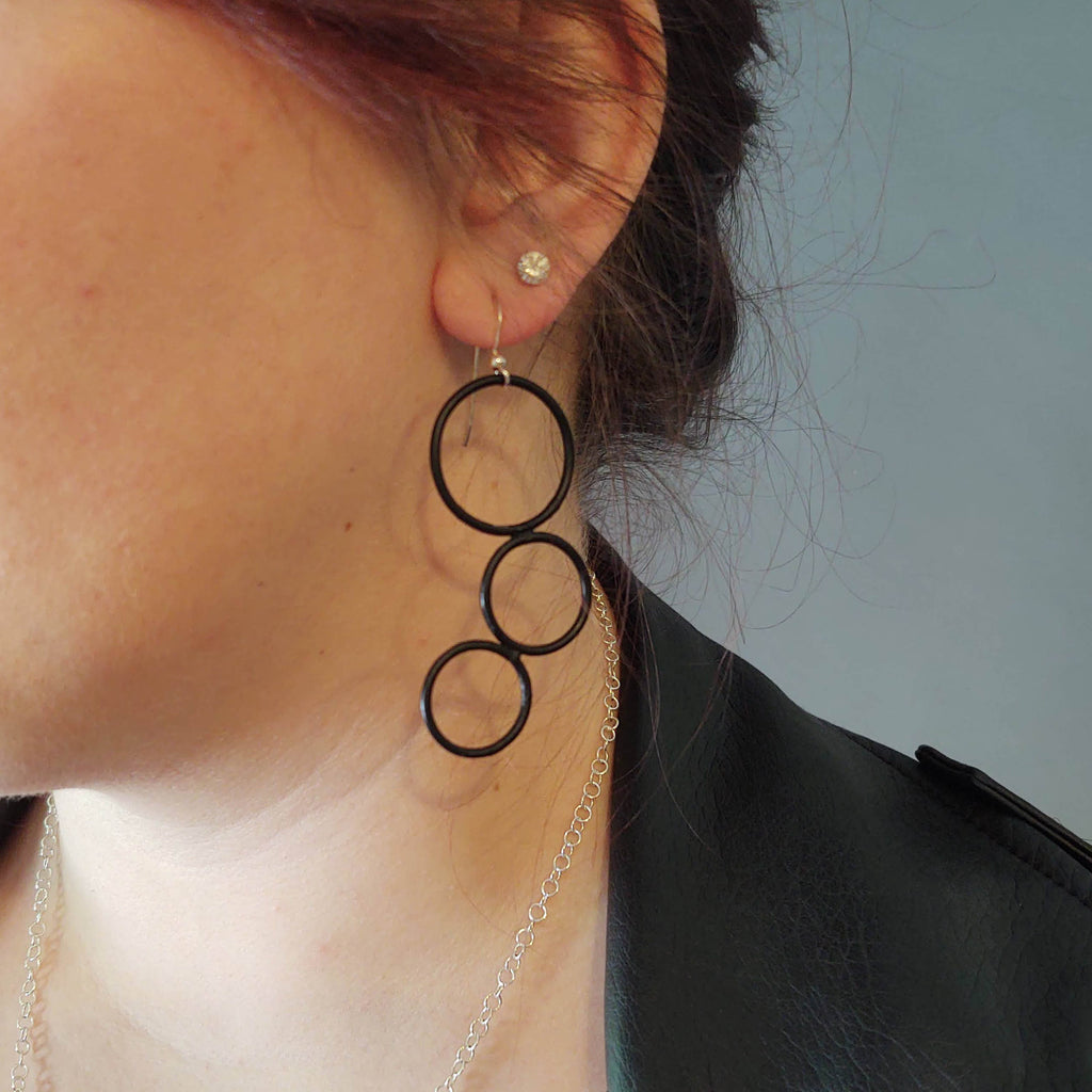 Steel Triple Round Hoop Earrings