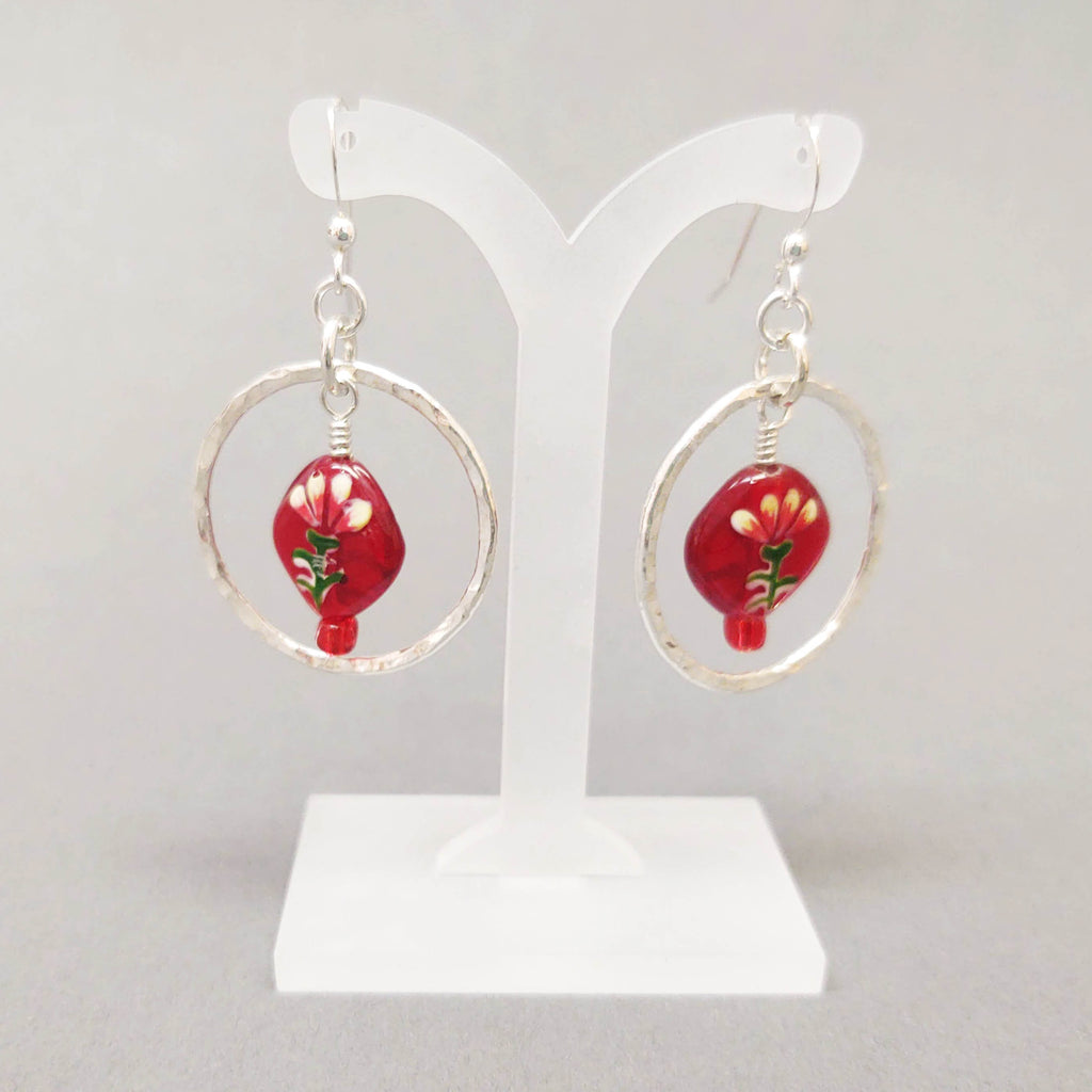 Red Glass Bead and Sterling Silver Hoop Earrings