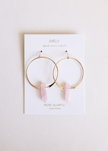 Rose Quartz Points on Gold Hoops