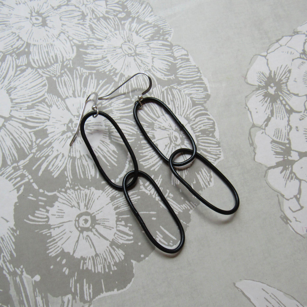 Steel Double Long Hoop Earrings