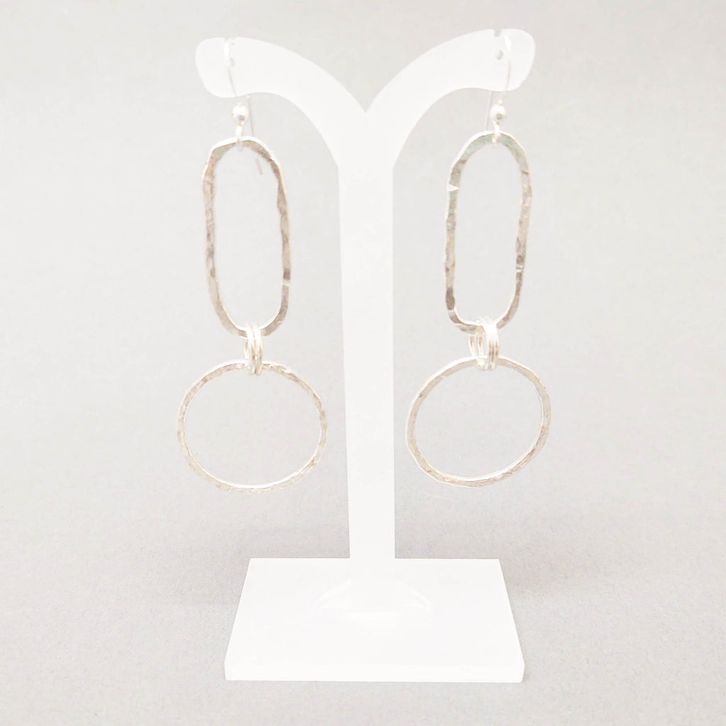 Sterling Oval and Circle Drop Earrings
