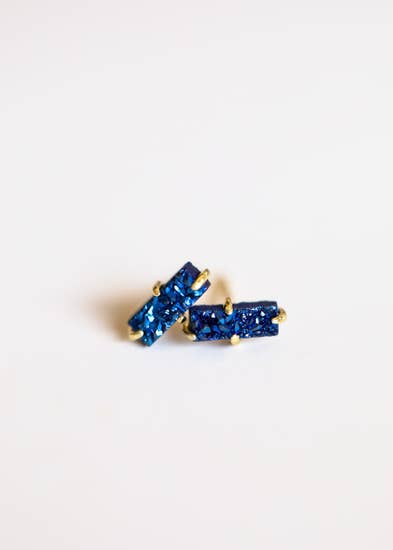 Peacock Druzy Bar Stud Earrings