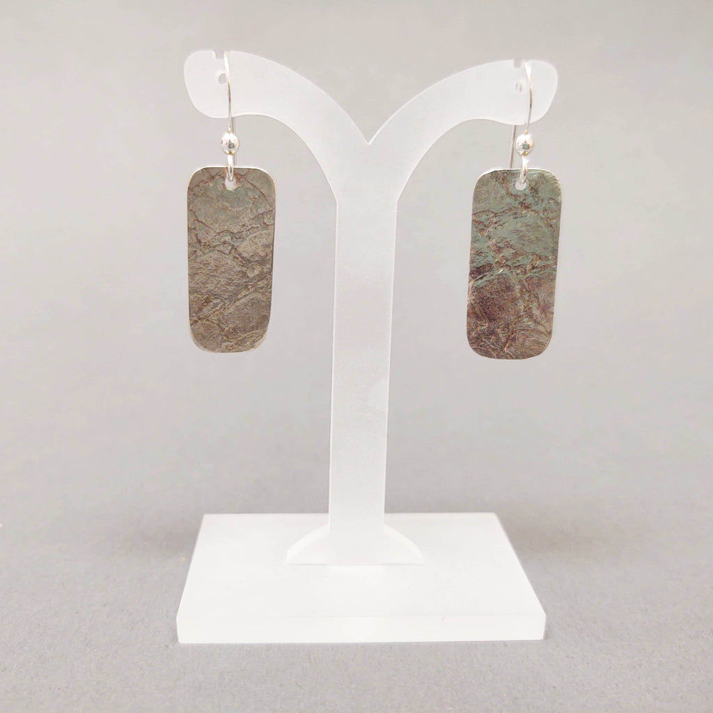 Sterling Textured Medium Rectangle Earrings - style B