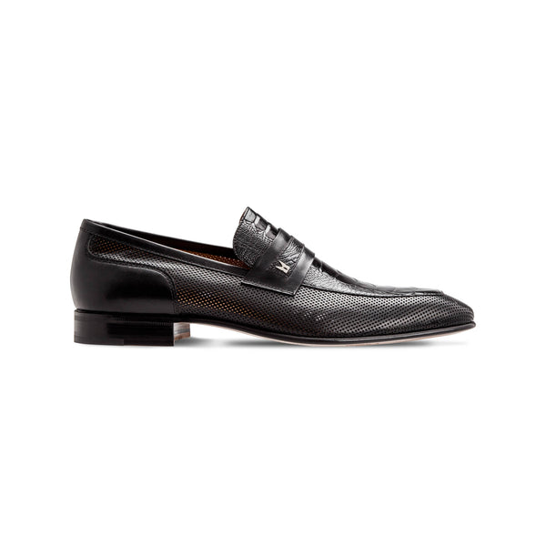 Black fine leather loafer shoes Luxury italian shoes