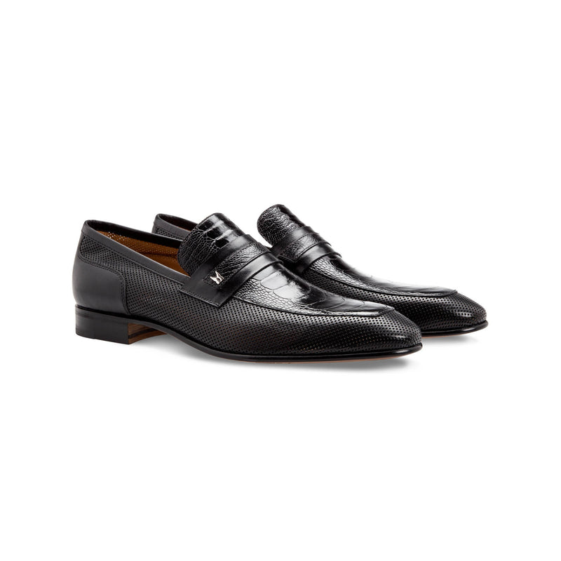 Black fine leather loafer shoes Moreschi Handmade italian shoes