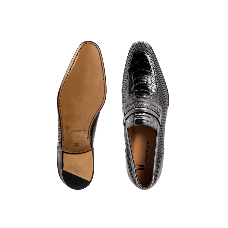 Black fine leather loafer shoes classic handmade shoes