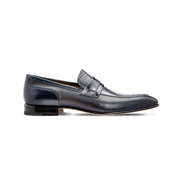 Dark blue fine leather loafer shoes