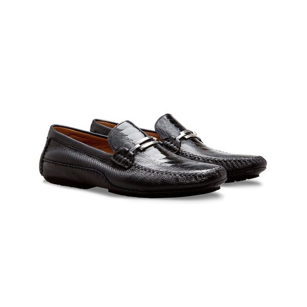 Black fine leather driver Moreschi  handmade italian shoes