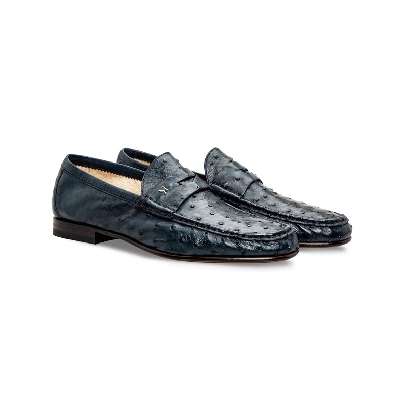 Blue fine leather loafer shoes