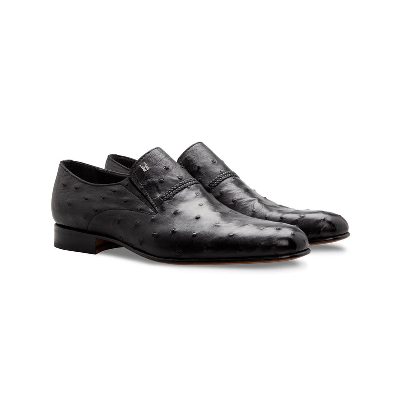 Black Fine leather loafer shoes