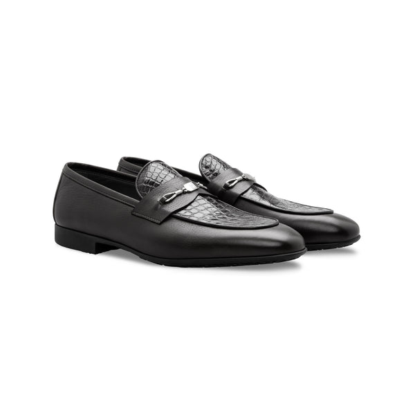 Black Calfskin and fine leather loafer shoes Handmade italian shoes