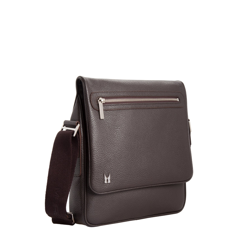 Dark brown calfskin leather messenger bag