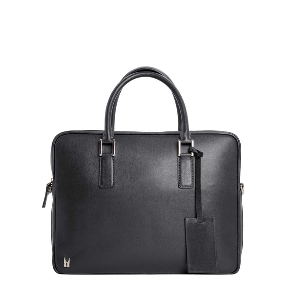 Black printed leather briefcase