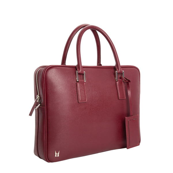 Burgundy printed leather briefcase