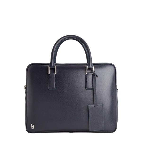 Dark blue printed leather briefcase